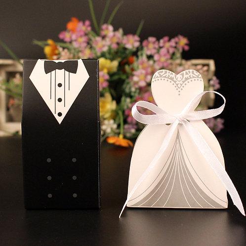 Lot de 100 boites a dragees couple mariage