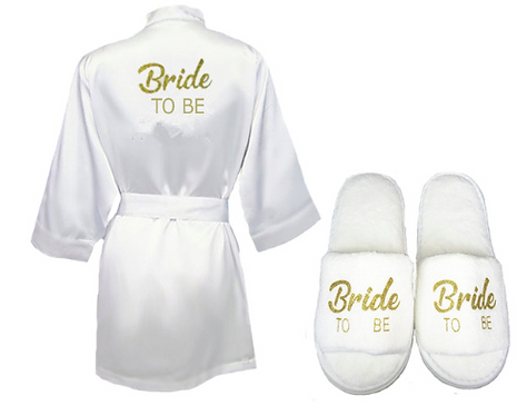 Peignoir et chaussons en satin Bride to be