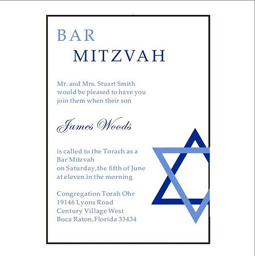 Lot de 100 invitations acrylique, faire-part bar mitzvah