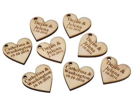 Lot de 100 coeurs en bois personnalisés pour mariage