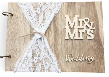 Livre d'or en bois et dentelle pour mariage