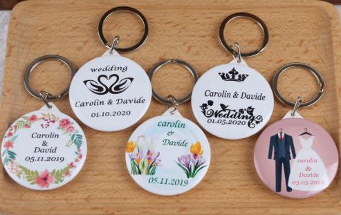 Lot de 50 porte-clef personnalisés miroir - cadeaux mariage