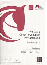 British Horse Society Stage 3 Coach in Complete Horsemanship certificate
