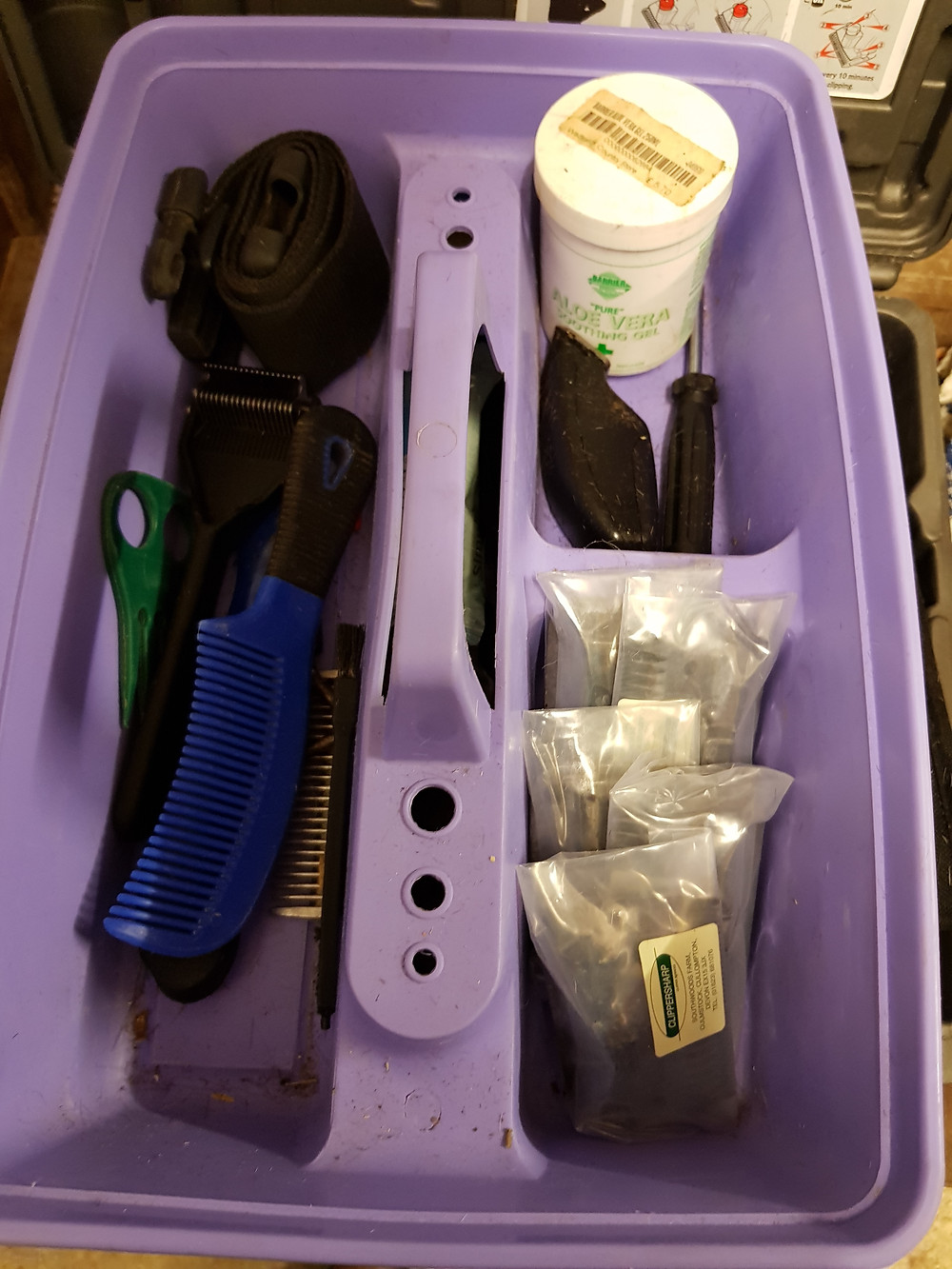 Equipment for clipping and trimming a horse