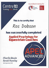 Certificate of completion of the Centre10 Applied Psychology for Equestrian Coaches Apvanced course