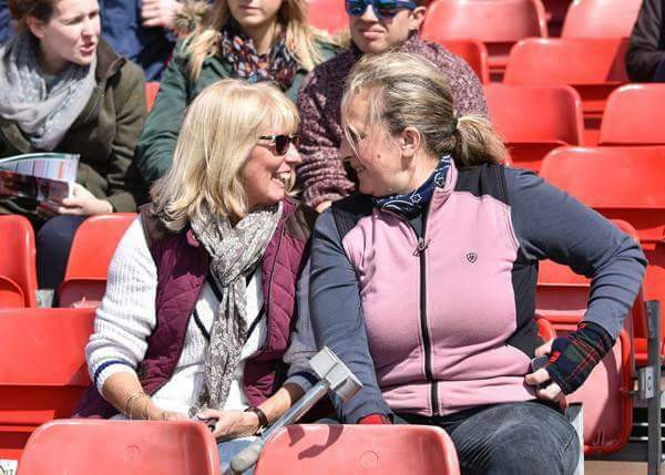 Ros Dobson chatting with Heather Marshall in the Grandstand at Badminton Horse Trials