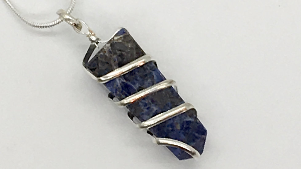 Sodalite Wire Wrapped Obelisk Necklace
