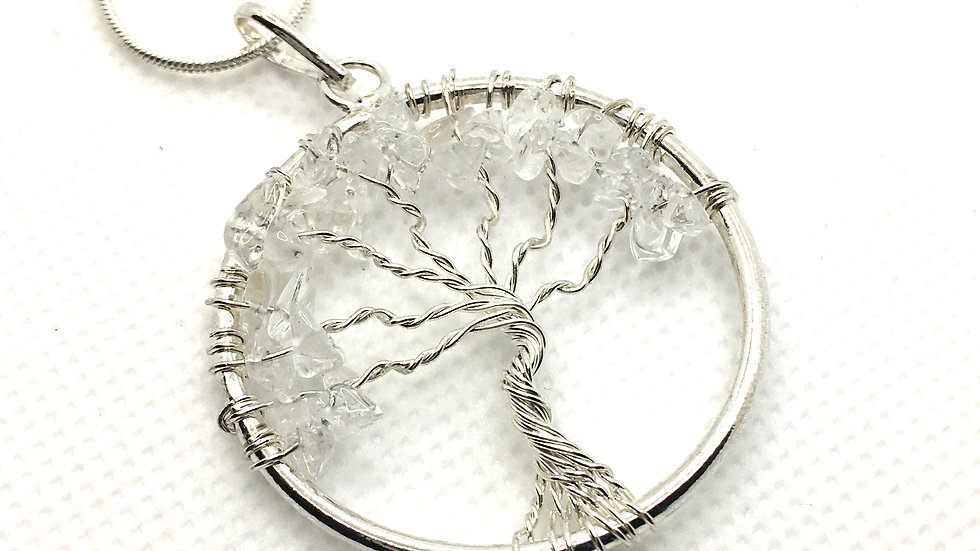 Clear Quartz Tree of Life Necklace