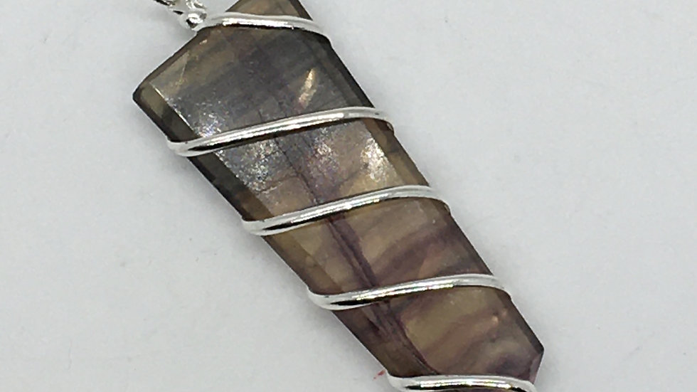 Fluorite Wire Wrapped Sword Shaped Necklace
