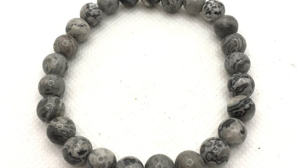 Grey Map Stone Bracelet with 8 mm Beads