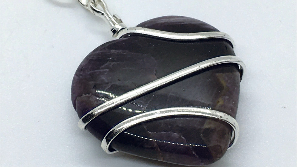 Amethyst Wire Wrapped Heart Necklace