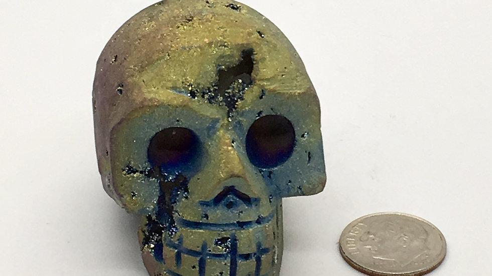 Titanium Chalcedony Druze Skull (Rainbow)