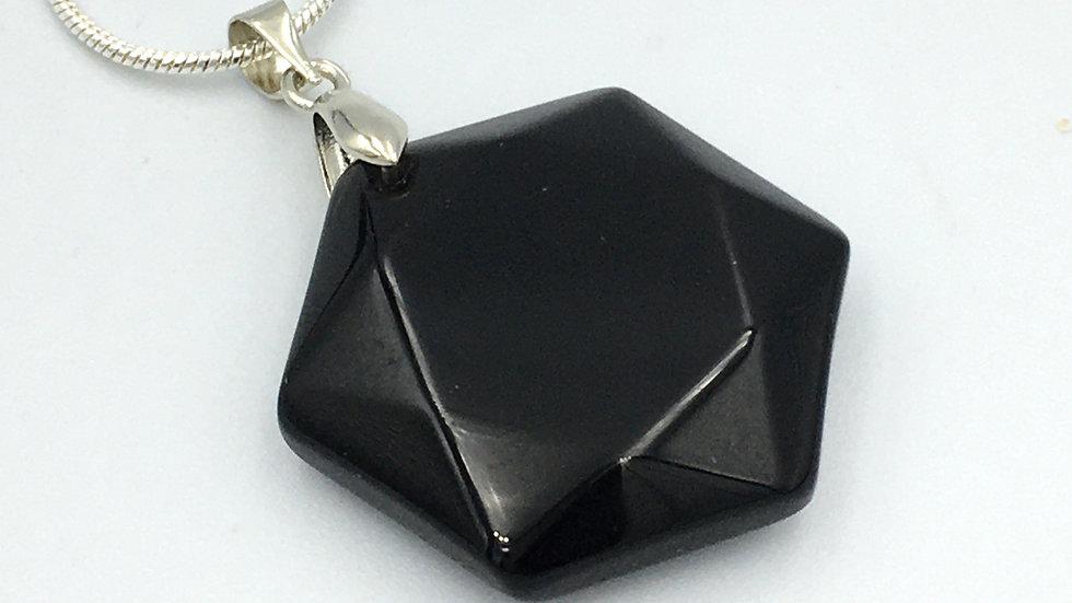 Black Onyx Flat Hexagon Shaped Necklace