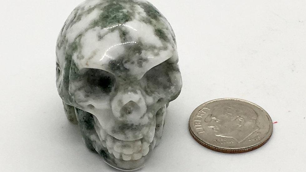 "Green Tree Agate 1 1/4"" Skull"