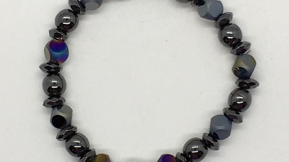 Hematite with Rainbow Matte Finish Beads