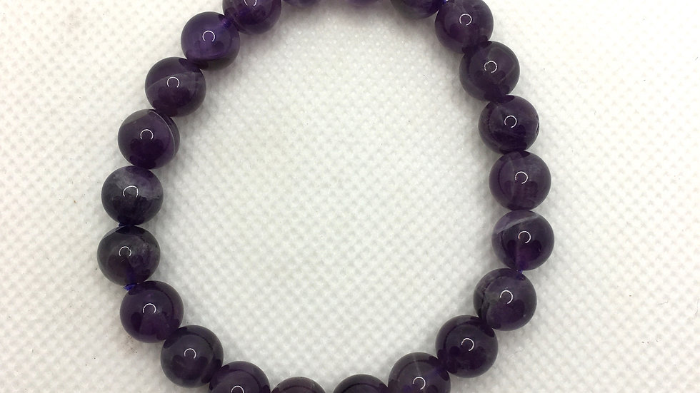Amethyst Bracelet with 8 mm beads