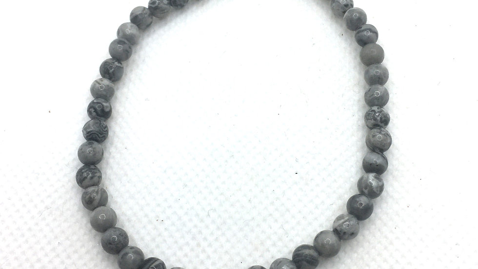 Grey Map Stone Bracelet with 4 mm Beads