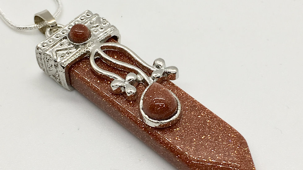 Red Goldstone Sword Point Necklace