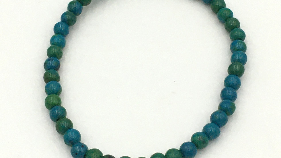 Chrysocolla Bracelet with 4 mm Beads