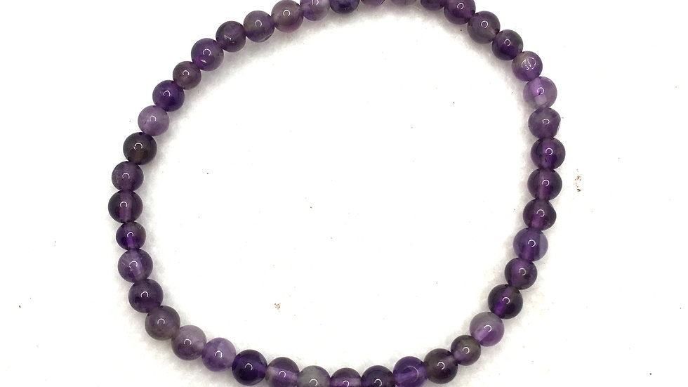 Amethyst Bracelet with 4 mm Beads