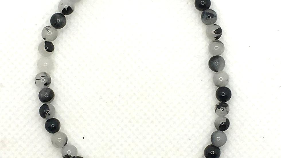 Tourmalinated Quartz Bracelet with 4 mm Beads