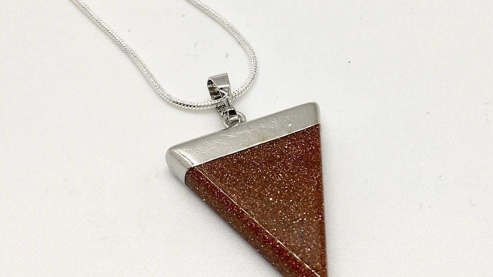 Red Goldstone Triangle Shape Necklace