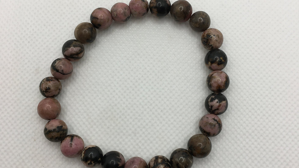Rhodonite Bracelet with 8 mm Beads