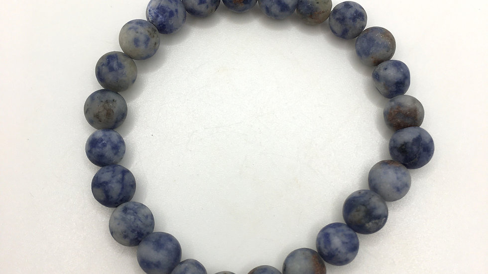 Dumortierite Bracelet with Frosted 8 mm Beads