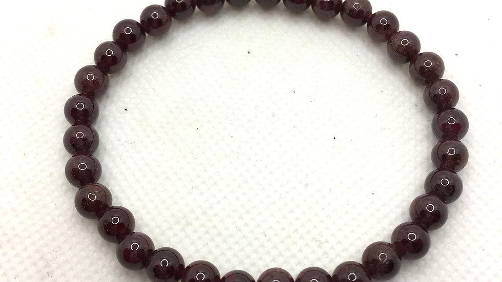 Garnet Bracelet with 6 mm Beads