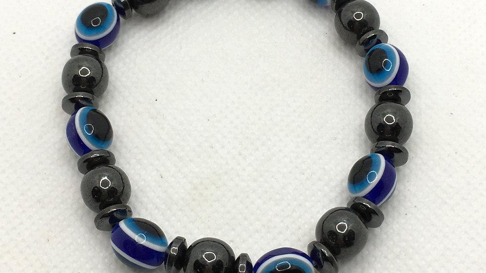 Magnetic Hematite Bracelet with Evil Eye Beads
