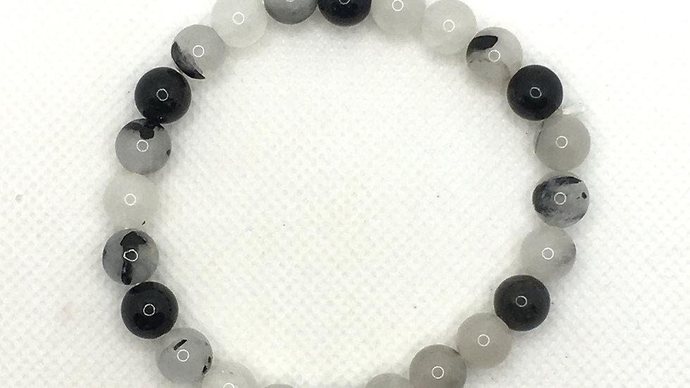 Tourmalinated Quartz Bracelet with 8 mm Beads