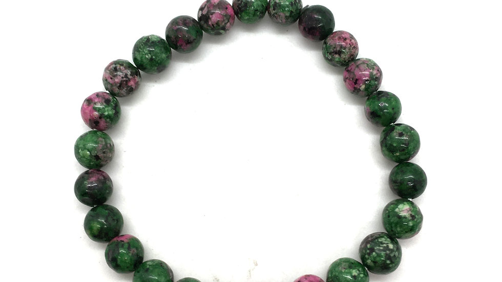 Ruby in Zoisite Bracelet with 8mm Beads
