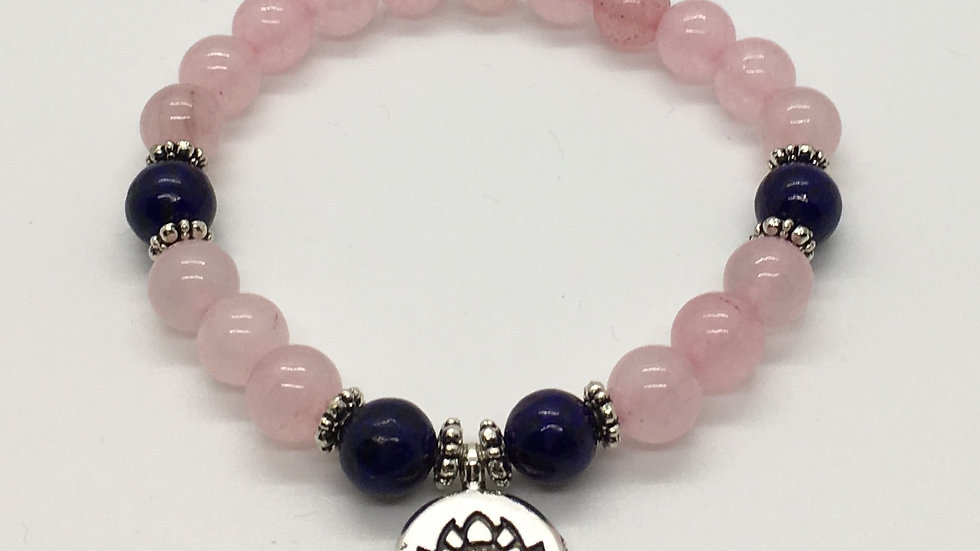 Rose Quartz with Lotus Charm