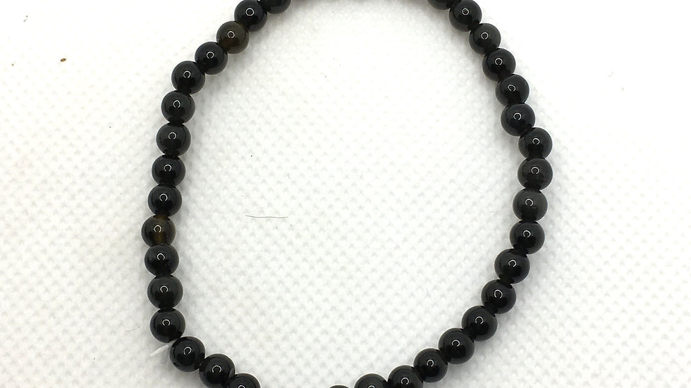 Black Obsidian Bracelet with 4 mm beads