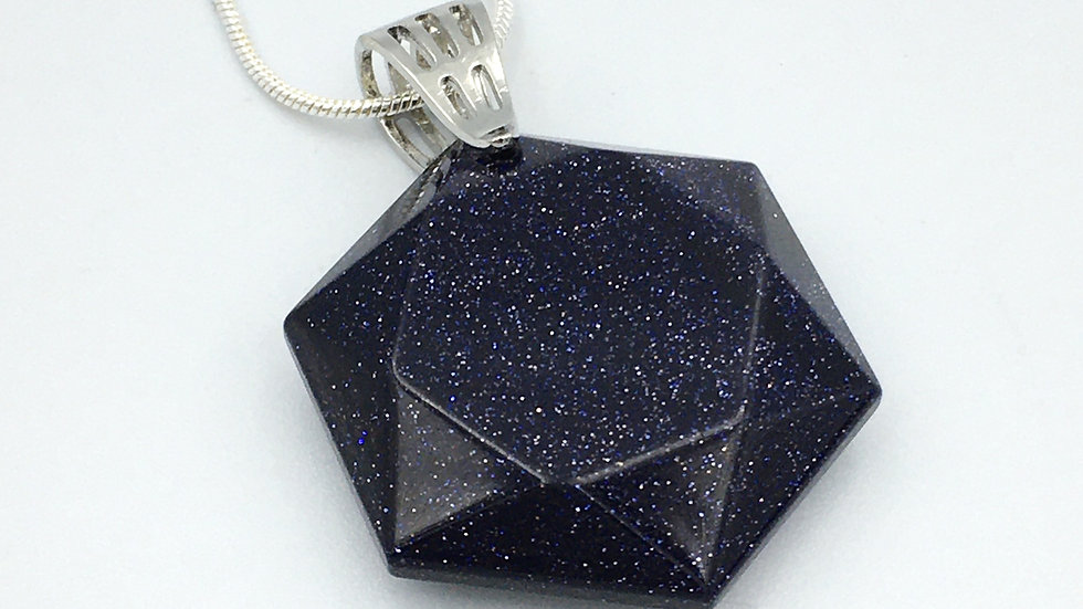 Blue Goldstone Flat Hexagon Necklace