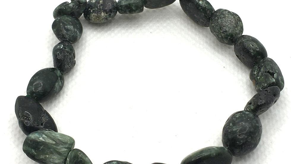 Seraphinite Bracelet with Irregular Shaped Beads