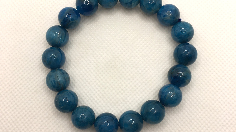 Blue Apatite Bracelet with 11 mm beads