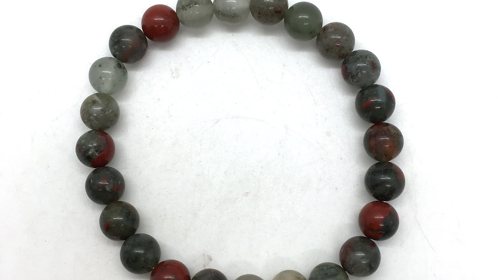 Bloodstone Bracelet with 8 mm Beads