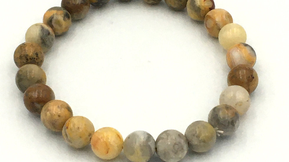 Crazy Lace Agate Bracelet with 8 mm Beads