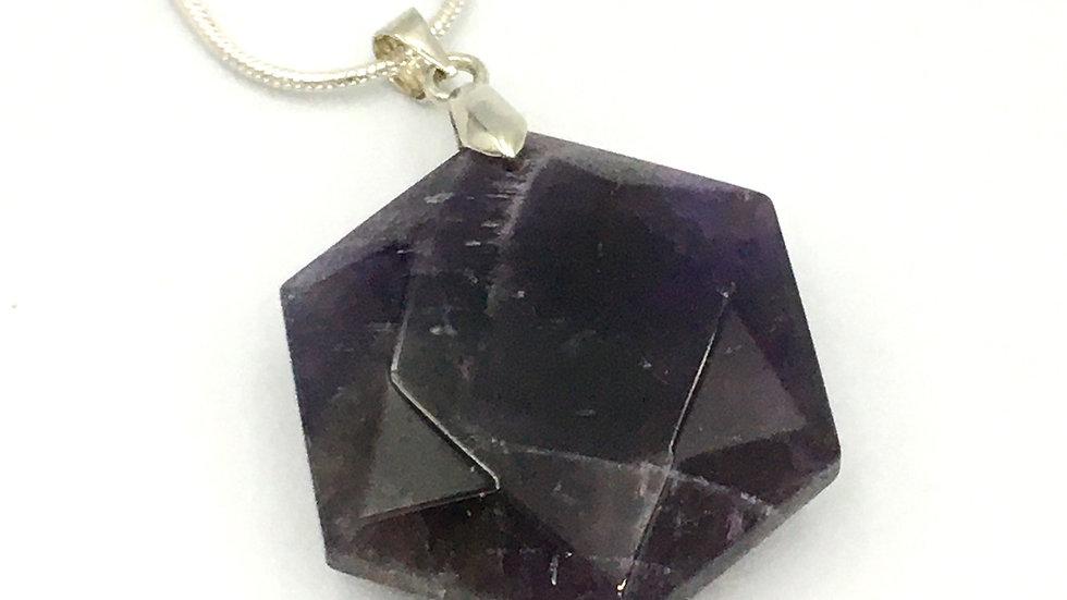 Amethyst Flat Hexagon Shaped Necklace