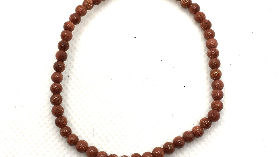 Red Goldstone Bracelet with 4 mm beads