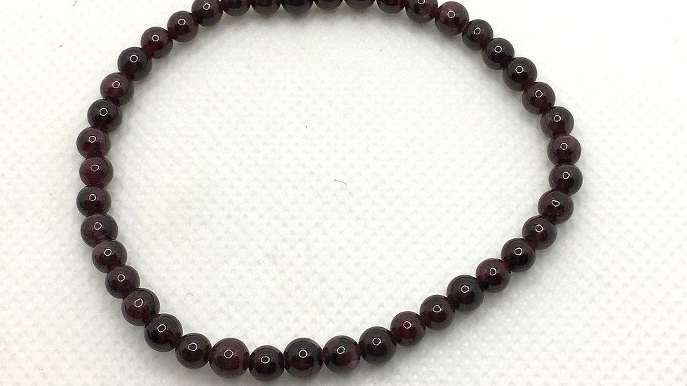 Garnet Bracelet with 4 mm Beads