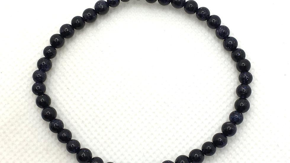 Blue Goldstone Bracelet with 4 mm beads