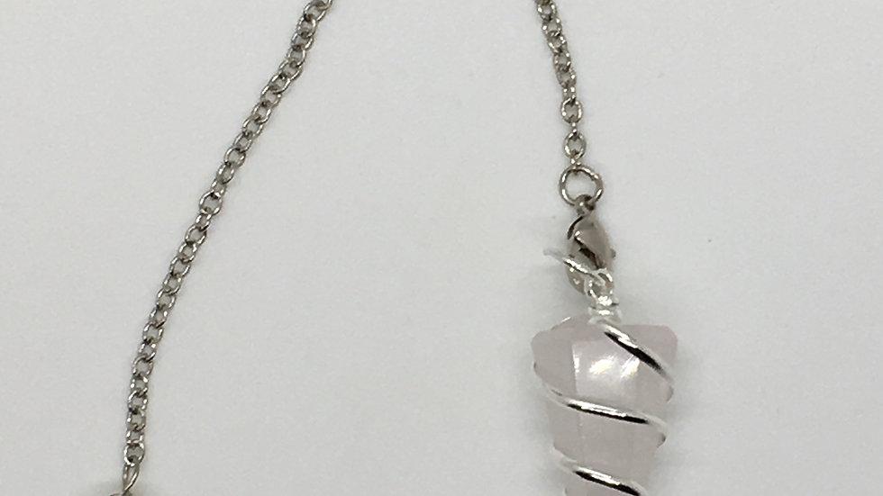 Rose Quartz Wire Wrapped Pendulum