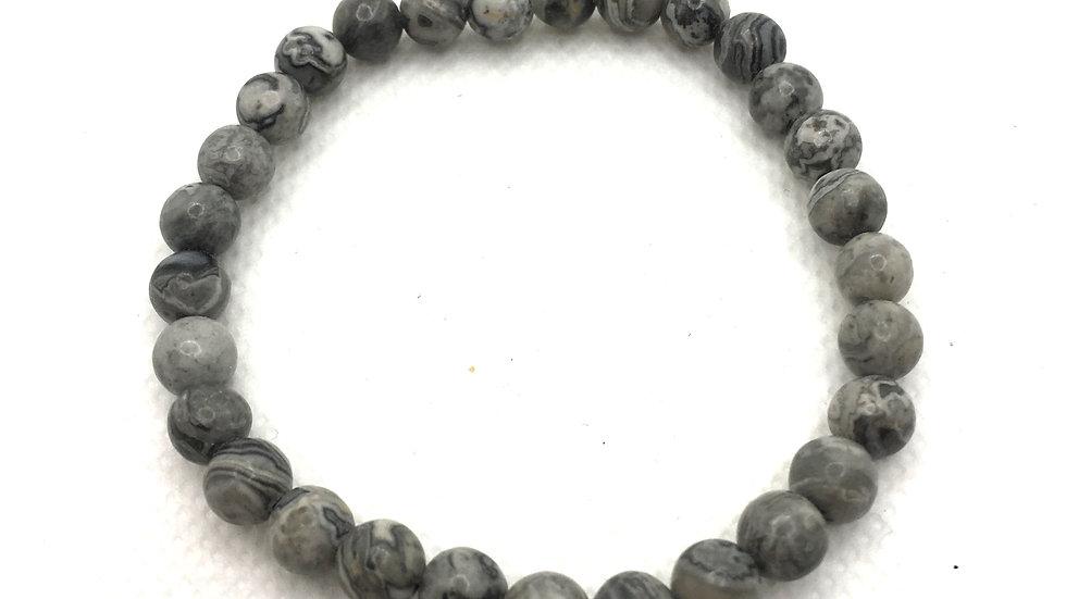 Grey Map Stone Bracelet with 6 mm Beads