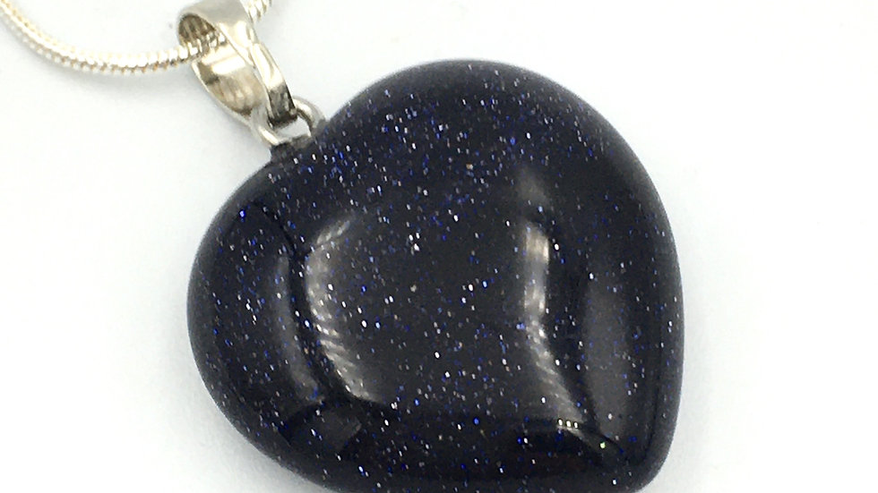 Blue Goldstone Heart Shaped Necklace