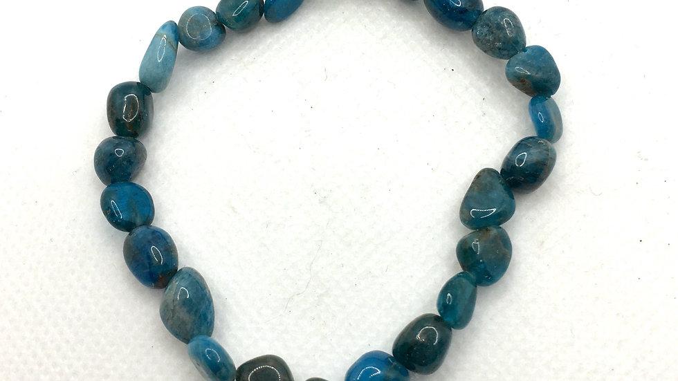 Blue Apatite Bracelet with Polished Irregular Shaped Beads