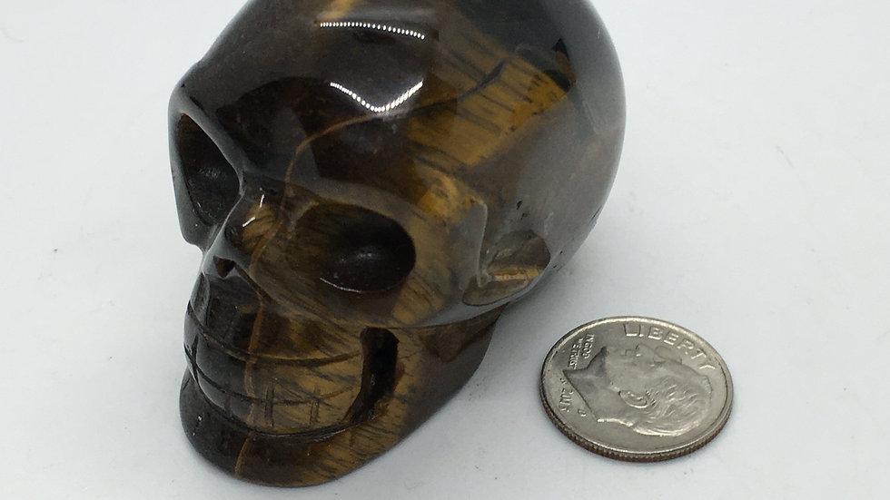 """Golden Tiger Eye 2"""" Skull"""