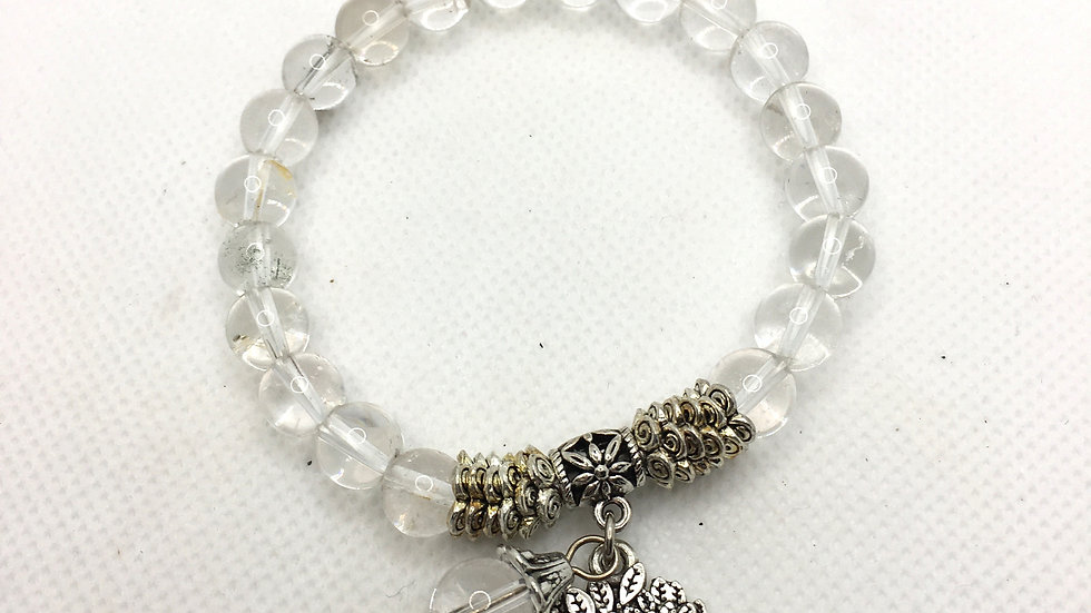 Clear Quartz Bracelet with 8 mm Beads and Tree of Life Charm