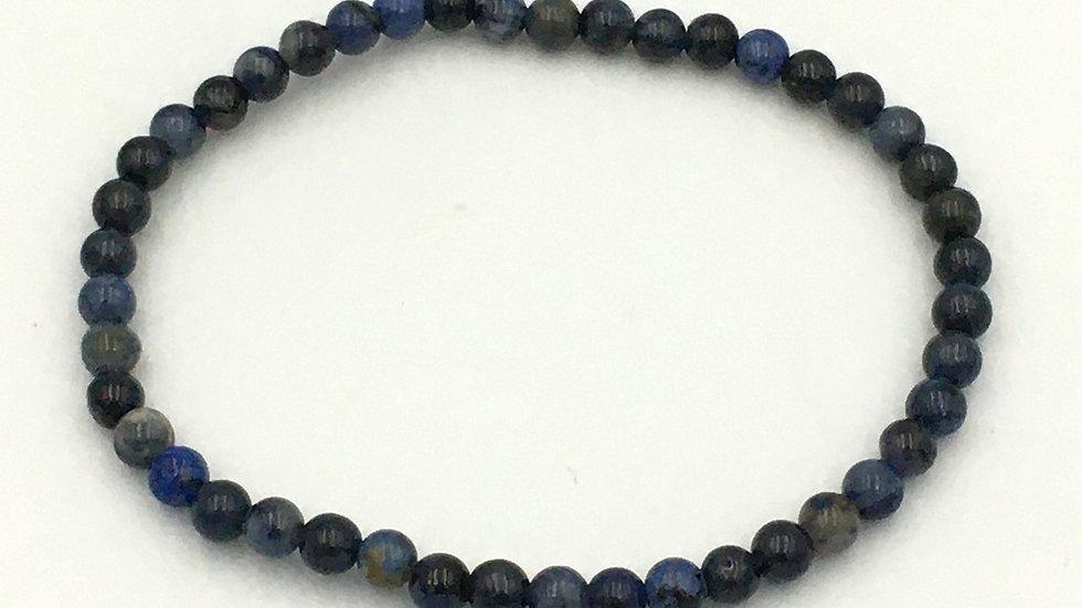 Dumortierite Bracelet with 4 mm Beads